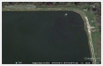A satellite view of the same inlet lagoon corner with aerator in place. No islands exist in this photo.